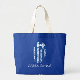 Greek touch fingerprint flag large tote bag
