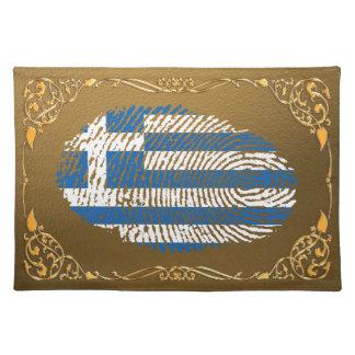 Greek touch fingerprint flag placemat
