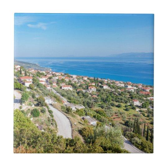 Greek village near sea in Kefalonia Small Square Tile