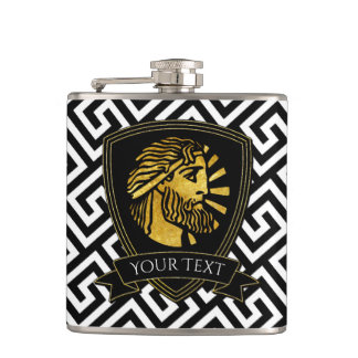 Greek Warrior in Gold Your Text Hip Flask