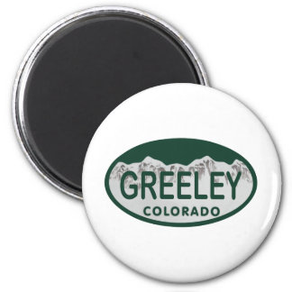 Greeley license oval 6 cm round magnet
