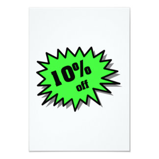 Green 10 Percent Off 9 Cm X 13 Cm Invitation Card