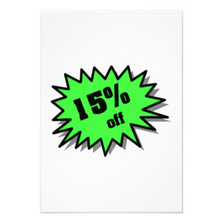 Green 15 Percent Off Custom Announcement