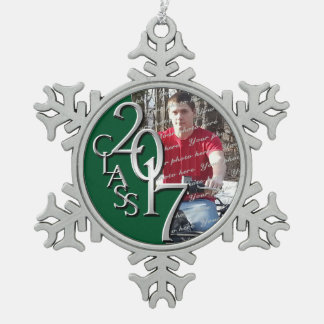 Green 2017 Graduate Photo Snowflake Pewter Christmas Ornament