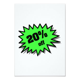 Green 20 Percent Off 9 Cm X 13 Cm Invitation Card