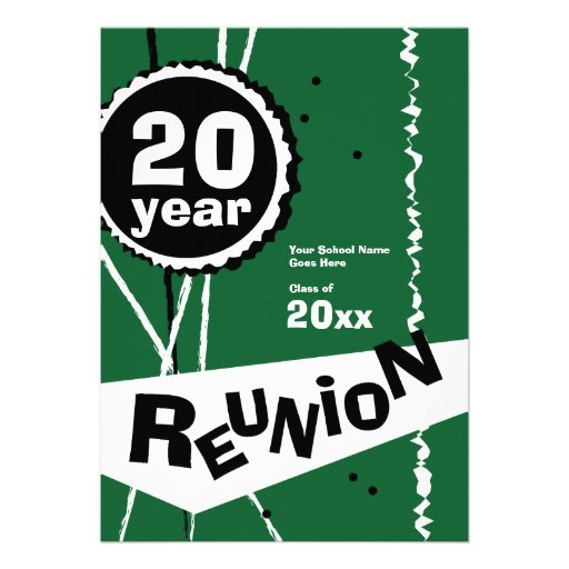 Green 20 Year Class Reunion Invitation
