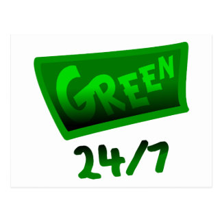 Green 24/7 With Irregular Banner And Shading Postcard
