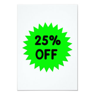 Green 25 Percent Off 9 Cm X 13 Cm Invitation Card