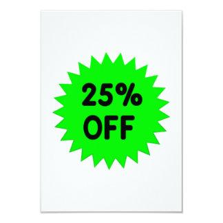 Green 25 Percent Off 9 Cm X 13 Cm Invitation Card