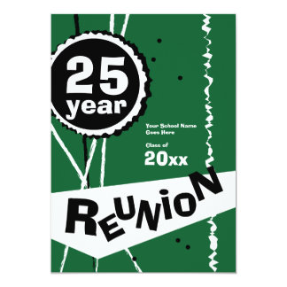 "Green 25 Year Class Reunion Invitation 5"" X 7"" Invitation Card"