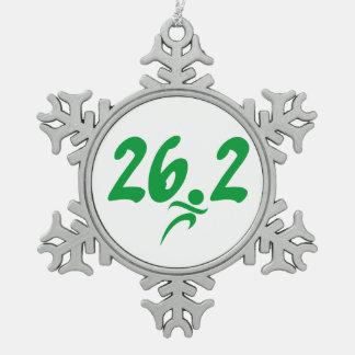 Green 26.2 marathon snowflake pewter christmas ornament