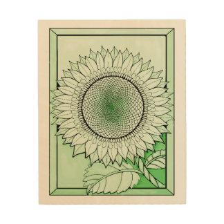 Green 2 Sunflower Wood Print