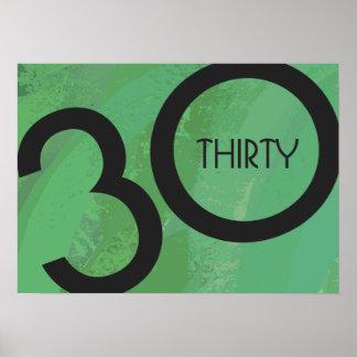 Green 30 Decade Birthdday Poster