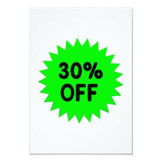 Green 30 Percent Off 9 Cm X 13 Cm Invitation Card