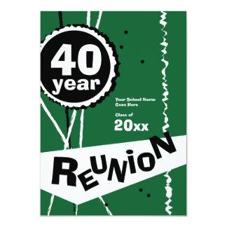 "Green 40 Year Class Reunion Invitation 5"" X 7"" Invitation Card"