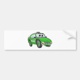 Green 4 Door Taxi Cab Cartoon Bumper Sticker