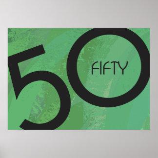 Green 50 Decade Birthdday Poster