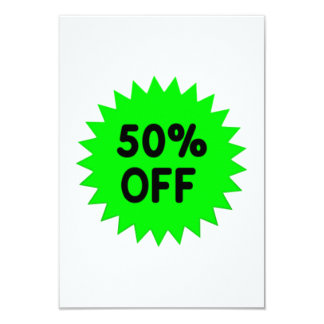 Green 50 Percent Off 9 Cm X 13 Cm Invitation Card
