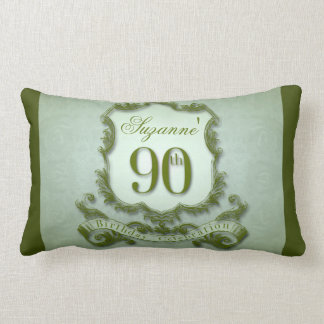Green 90th Birthday Lumbar pillow Message Back