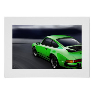 Green 911 Carrera Sports coupe Poster Illustration