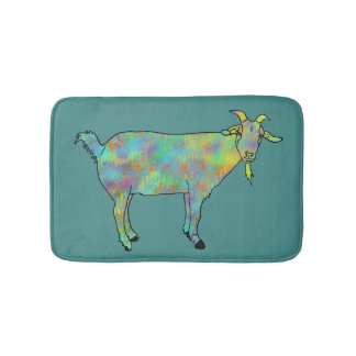 Green Abstract Art Goat Colourful Animal Design Bath Mat