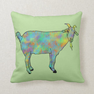 Green Abstract Art Goat Colourful Animal Design Cushion