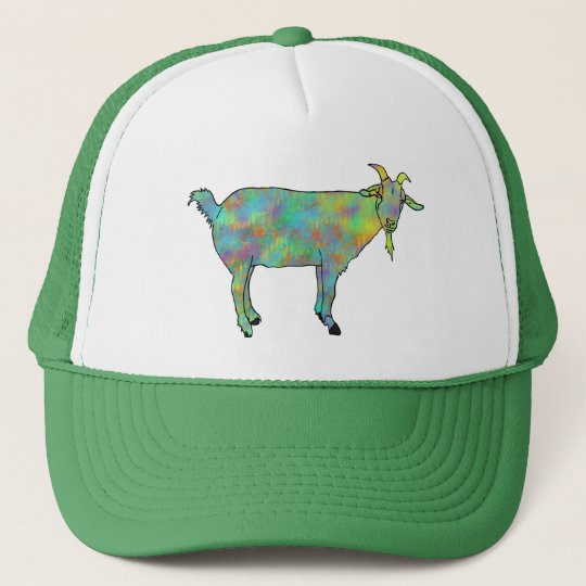 Green Abstract Art Goat Colourful Animal Design Trucker