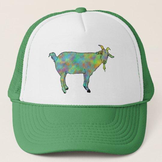 Green Abstract Art Goat Colourful Animal Design Trucker
