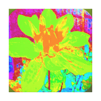 GREEN ABSTRACT DAHLIA FLORAL FLOWER CANVAS PRINT