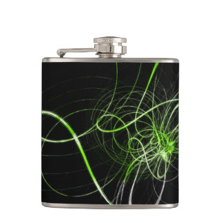 Green Abstract Design Hip Flask