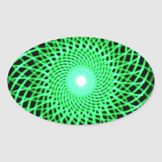 Green abstract eye oval sticker