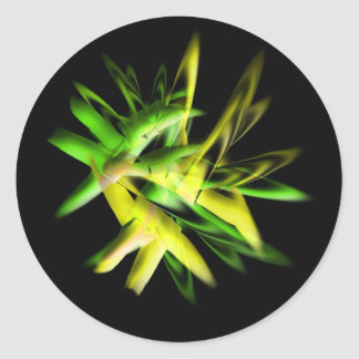 Green abstract flame classic round sticker