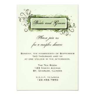 Green Abstract Floral Couples Wedding Shower Card