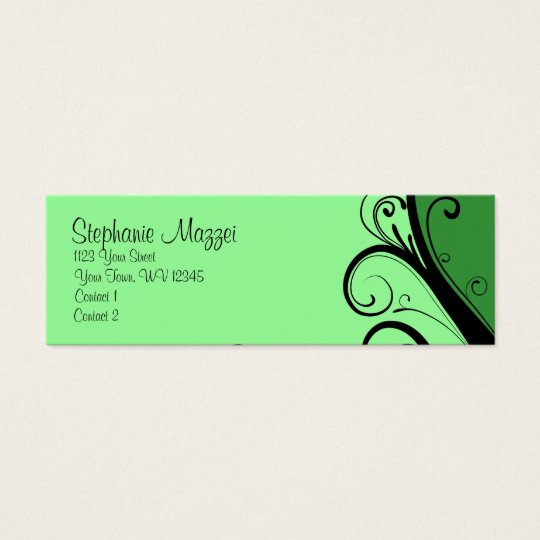 Green Abstract Floral Mini Business Card