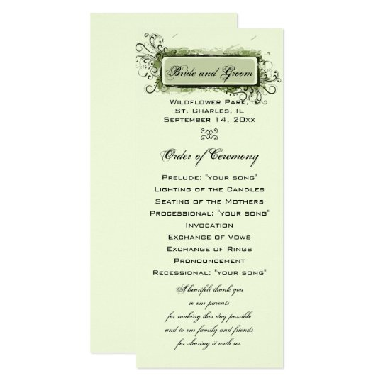 Green Abstract Floral Wedding Program