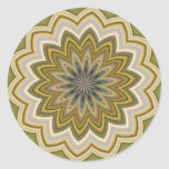 Green Abstract Flower Round Stickers
