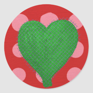 Green Abstract Heart on Pink and Red Polka Dots Sticker