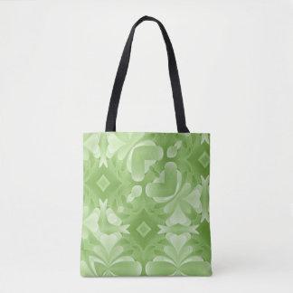 Green Abstract Hearts and Diamonds Tote Bag