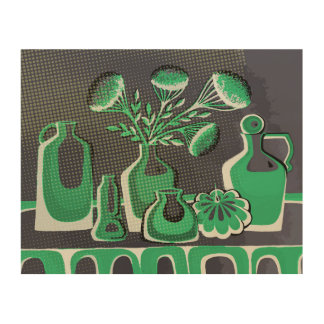 Green abstract home kitchen themed design wood wall decor