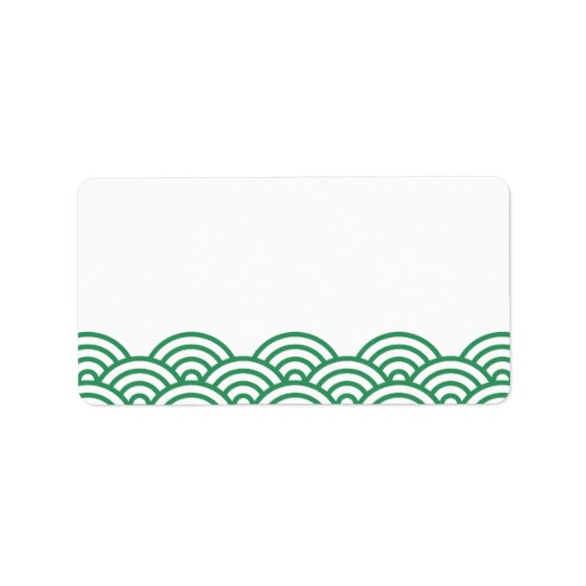 Green abstract Japanese wave pattern blank labels