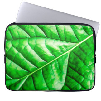 Green Abstract Macro Leaf Laptop Sleeve
