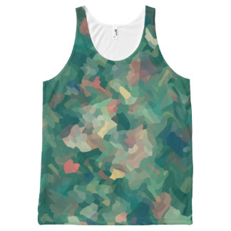 Green Abstract Moss All-Over Print Tank Top