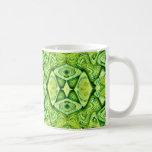 green abstract mugs