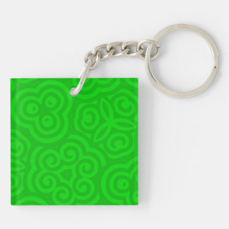 Green Abstract Pattern Acrylic Key Chain