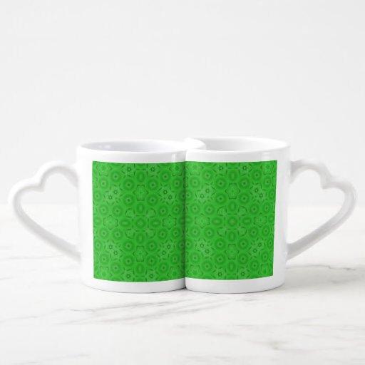 Green abstract pattern couple mugs
