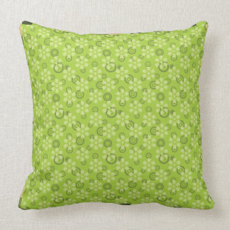 green abstract pattern pillow