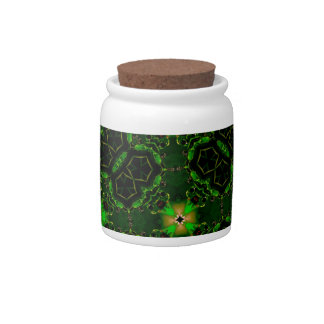 Green abstract pattern candy jars