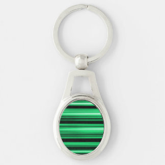 Green Abstract Silver-Colored Oval Key Ring