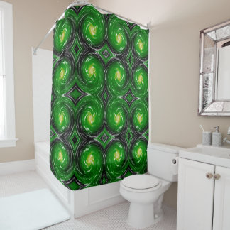 Green Abstract Swirl Pattern Shower Curtain