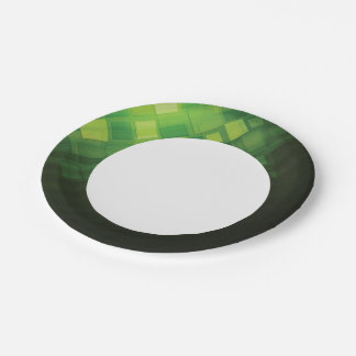 Green abstract technology design 7 inch paper plate